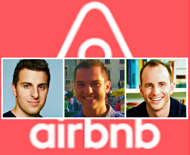 Airbnb founders collage picture